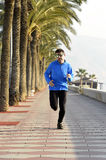 Sport man running along beach palm trees boulevard in morning jog training session. Young sport man with sunglasses running along beach palm trees boulevard in Royalty Free Stock Image