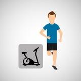 Sport man running static bike. Vector illustration eps 10 Royalty Free Stock Photography