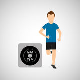 Sport man running weight graphic Stock Photo