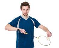 Sport man serving badminton Royalty Free Stock Photo