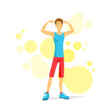 Sport Man Show Bicep Muscles Fitness Trainer. Athletic Bodybuilder Over Colorful Background, Vector Illustration Stock Photo