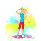 Sport man show bicep muscles fitness trainer over. Sport man show bicep muscles fitness trainer, bodybuilder athletic muscle over colorful splash background Royalty Free Stock Photo