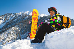 Sport man in snowy mountains Stock Photo