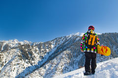 Sport man in snowy mountains Royalty Free Stock Image