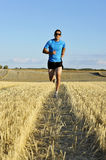 Sport man with sunglasses running outdoors on straw field ground in frontal perspective. Young sport man with sunglasses running outdoors on straw field ground stock photography