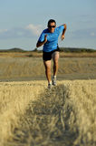 Sport man with sunglasses running outdoors on straw field ground in frontal perspective. Young sport man with sunglasses running outdoors on straw field ground stock photo
