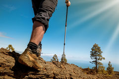 Sport man on top of mountain Royalty Free Stock Image