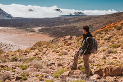 Sport man on top of mountain. Tenerife Canary stock photos