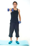 Sport man working with dumbbell Stock Photos