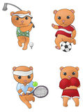 Sport mascot bear collection set 1 Royalty Free Stock Images