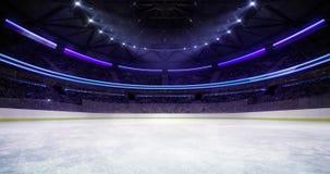 Entering the ice rink of the ice hockey stadium stock video footage