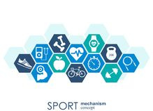 Sport mechanism concept. Football, basketball, volleyball, ball concepts. Abstract background with connected objects. Vector illustration Stock Photography
