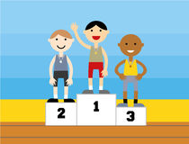 Sport medalist standing on a podium Royalty Free Stock Photography