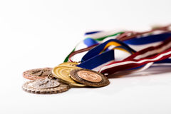 Sport medals isolated on white Royalty Free Stock Photo