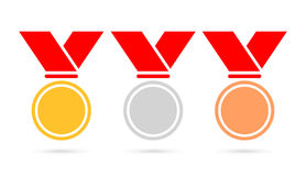 Sport medals set vector icon. Sport medals set vector illustration  on white background Stock Images