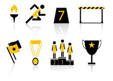Sport Meeting Icon Set. Black and yellow sport meeting icon set. Isolated on white Royalty Free Stock Photos