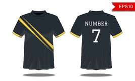 Sport Men`s t-shirt with short sleeve in front and back views. B. Lack with yellow stripes and Editable color design. Mock up of sport wear concept. Sport and royalty free illustration