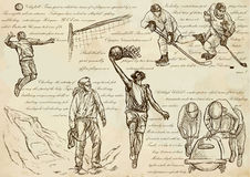 Sport mix - An hand drawn vector illustrations, line art Stock Images