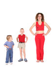 Sport mother with children Stock Photo