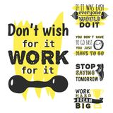 Sport motivational logo vector design hand drawn element banner gym crossfit trainings motivation text lettering Stock Image