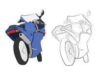 Sport moto bike vector drawing illustration stock photography