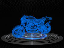 Sport motorbike on a cybernetic platform against pattern background Stock Photo