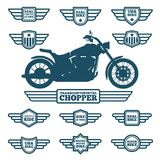 Sport motorbike silhouette and vintage wing labels.   Stock Photography