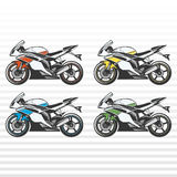 Sport Motorcycle. Color set.  vector sketch of of racing Super Bike Royalty Free Stock Image