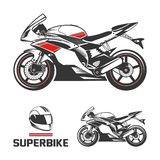 Sport Motorcycle with Helmet. Isolated vector sketch of racing Super Bike Stock Photo