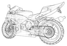 Sport motorcycle technical wire-frame. EPS10 format. Vector created of 3d Royalty Free Stock Image