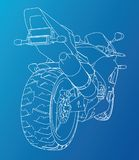 Sport motorcycle technical wire-frame. Vector illustration. Tracing illustration of 3d Royalty Free Stock Image