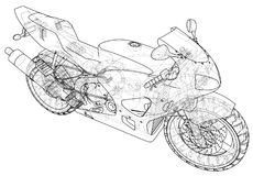 Sport motorcycle technical wire-frame. Vector illustration. Tracing illustration of 3d Stock Photos