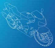 Sport motorcycle technical wire-frame. Vector illustration. Tracing illustration of 3d Stock Images