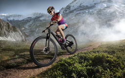 Sport. Mountain Bike cyclist Royalty Free Stock Image