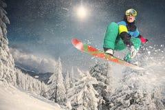 sport na śnieg na zimę Snowboarder Zdjęcia Royalty Free