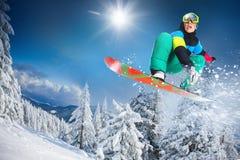 sport na śnieg na zimę Snowboarder Zdjęcia Stock