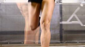 Sport nella vita 20s attraente Le gambe ed i piedi femminili sulla pedana mobile in palestra bastonano Concetto di benessere Pist video d archivio