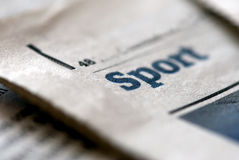 Sport news. Newspaper section about sport. The fosus is on letter S Stock Images