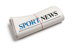 Sport News. Newspaper roll with white background Royalty Free Stock Images