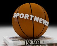 Sport news logo. Sports new logo  on baskett-ball and newspaper - 3d rendering Stock Photos