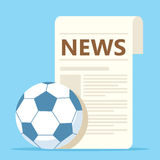 Sport news with soccer ball Stock Image