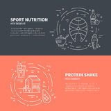 Sport Nutrition. Collection of four banners with sport nutrition. Diet design element. Healthy food and sport nutrition symbols made in line style vector stock illustration