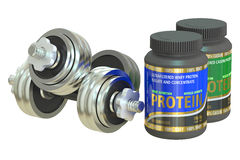 Sport Nutrition Containers And Dumbbells Royalty Free Stock Images