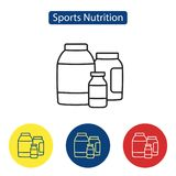 Sport nutrition fit icons. Nutritional dietary supplements line outline icons vector illustration. Flat style design logo signs for print media infographics Stock Photos