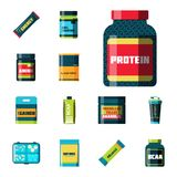 Sport nutrition healthy food fitness diet bodybuilding proteine power drink athletic supplement energy vector Stock Photography