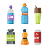 Sport nutrition icon in flat style detailed healthy food and fitness diet bodybuilding proteine power drink athletic Royalty Free Stock Photo