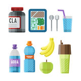Sport nutrition icon in flat style detailed healthy food and fitness diet bodybuilding proteine power drink athletic Royalty Free Stock Image
