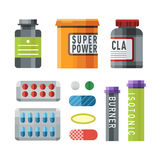 Sport nutrition icon in flat style detailed healthy food and fitness diet bodybuilding proteine power drink athletic Stock Photography