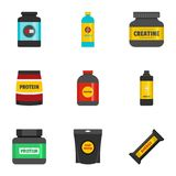 Sport nutrition icons set, flat style. Sport nutrition icons set. flat set of 9 sport nutrition vector icons for web isolated on white background Stock Photo
