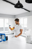 Sport Nutrition. Man Prepare Shake Sports Drink. Supplements Stock Image